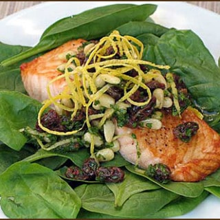 Salmon with Raisins and Pine Nuts