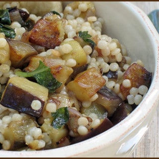Eggplant and Basil with Israeli Couscous