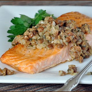 Broiled Salmon with Mustard Lentils