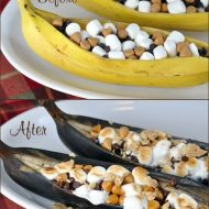 Grilled S'mores Banana Boats (before and after) | Very Culinary