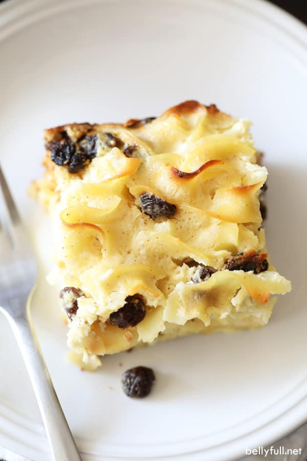 overhead picture of Noodle Kugel slice on white plate