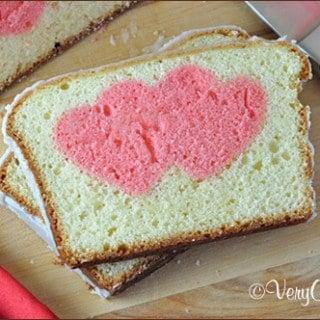 Valentine's Day Peek-A-Boo Pound Cake slice