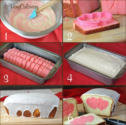 Valentine's Day Peek-A-Boo Pound Cake step by step