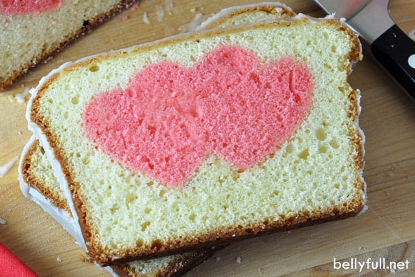 heart surprise cake slice