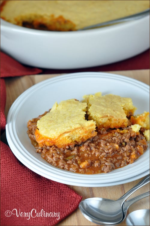 Cornbread meats sloppy joes! This super tasty dish is easy, quick, inexpensive, and only requires one pan!