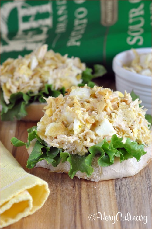 Open-Faced Tuna Egg Salad with Kettle Chips   Very Culinary