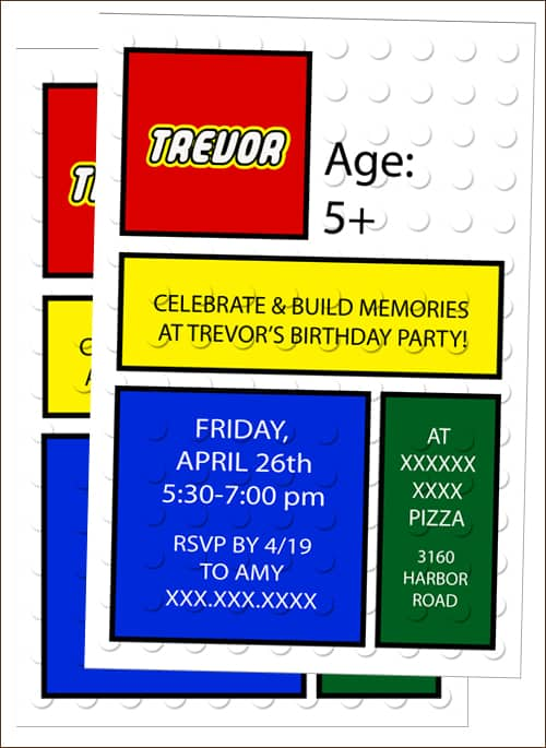 how to host a lego party - belly full, Party invitations