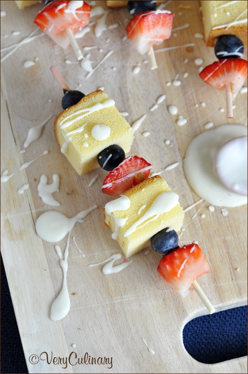 Red, White, and Blue Dessert Kabobs | Very Culinary