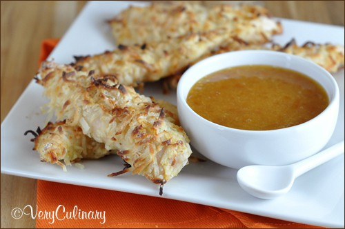 Coconut Chicken Tenders with Apricot-Mustard Sauce | Very Culinary