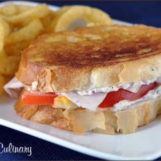 Grilled Muenster with Turkey, Tomato, and Thyme Spread