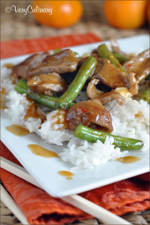 Easy Chinese Orange Beef Stir Fry is on the table in 25 minutes from Very Culinary
