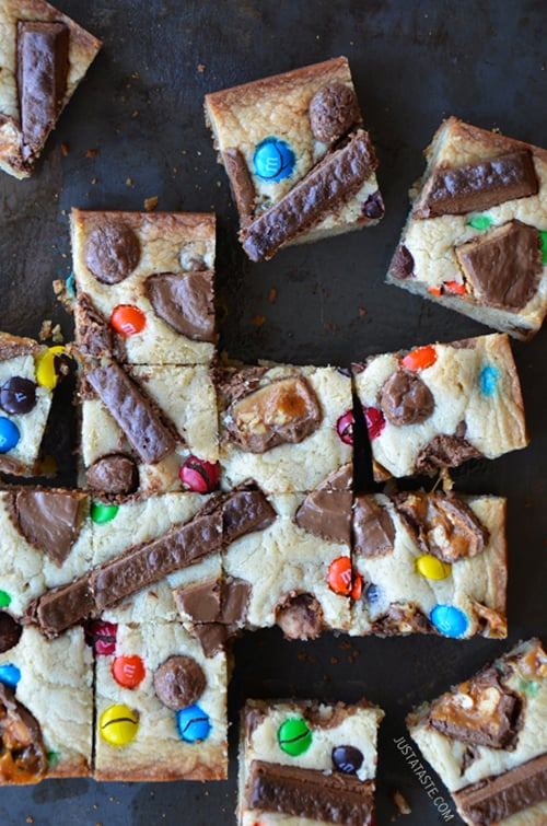 Halloween Candy Blondies | Just A Taste