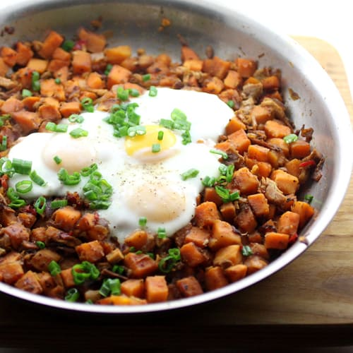 Turkey Sweet Potato Hash with Basted Eggs   Life in Recipes