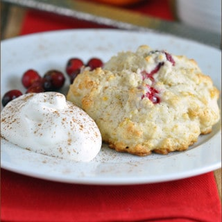 Cranberry Buttermilk Biscuits with Cinnamon Whipped Cream | Very Culinary