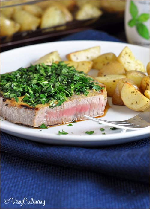 Herb-Crusted Steaks with Oven Roasted Potatoes from Very Culinary