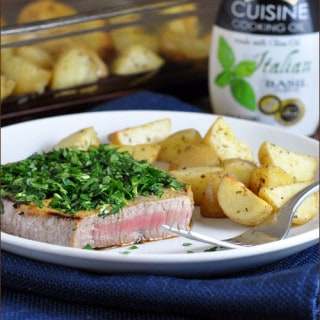 Herb-Crusted Steaks with Oven Roasted Potatoes using Star Fine Foods Italian Cooking Oil