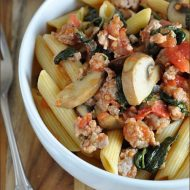 Penne with Sausage and Mushroom Ragu from Very Culinary