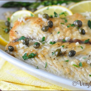 Easy Fish Piccata with Roasted Asparagus on www.bellyfull.net