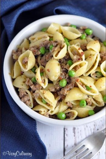 Sausage and Pea Pasta