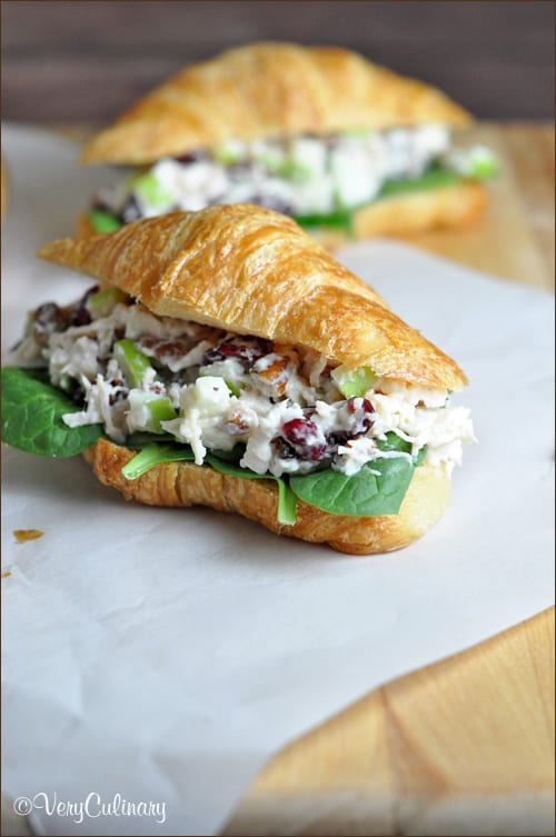 Chicken Salad Sandwich with Cranberries, Apples, and Pecans