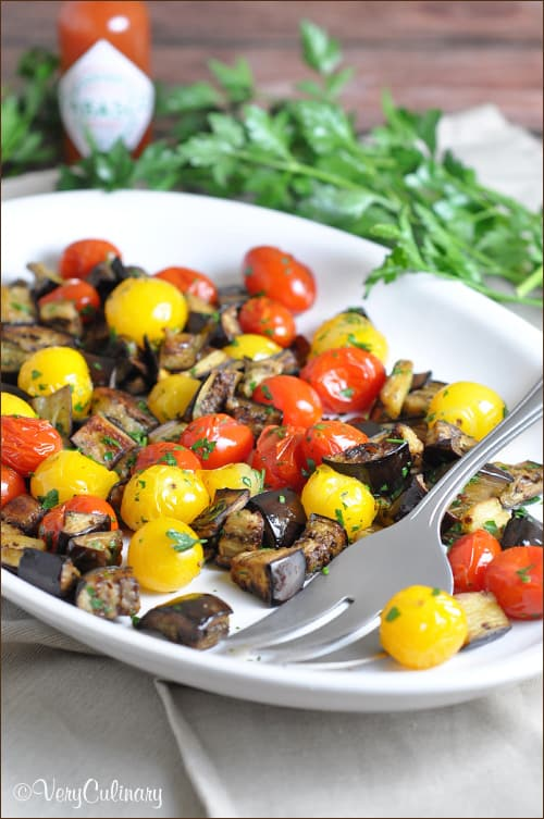 Spicy Roasted Eggplant and Cherry Tomatoes #glutenfree
