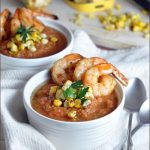 Summer Gazpacho with Grilled Shrimp #coldsoup #summersoup #Gazpacho