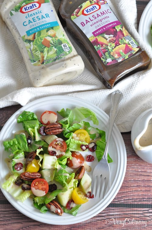 A Simple Side Salad using a blend of two different delicious dressings!