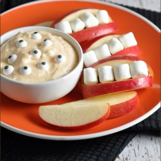 Monster Dip with Apple Mouths #Halloween #snacks
