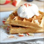Waffles with an apple pie flair, made with apples and all the favorite fall spices. And then topped with vanilla ice cream or whipped cream!