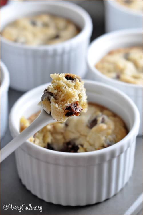 Chocolate Chip Cookies with Caramel Filled Chocolate Morsels baked in ramekins!