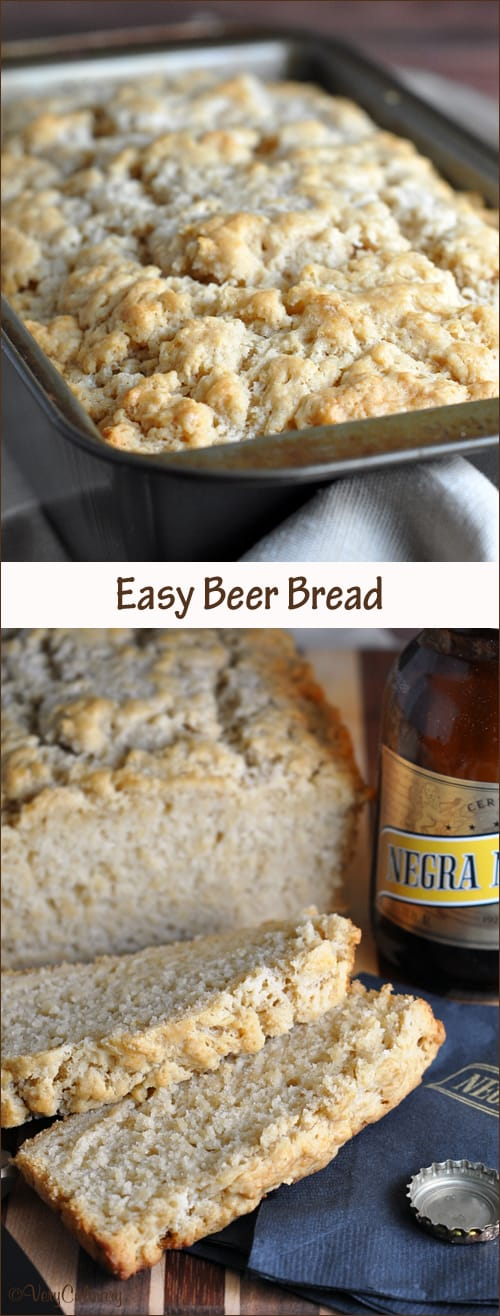 Easy and delicious no-yeast Beer Bread with brown sugar and a crispy buttery crust