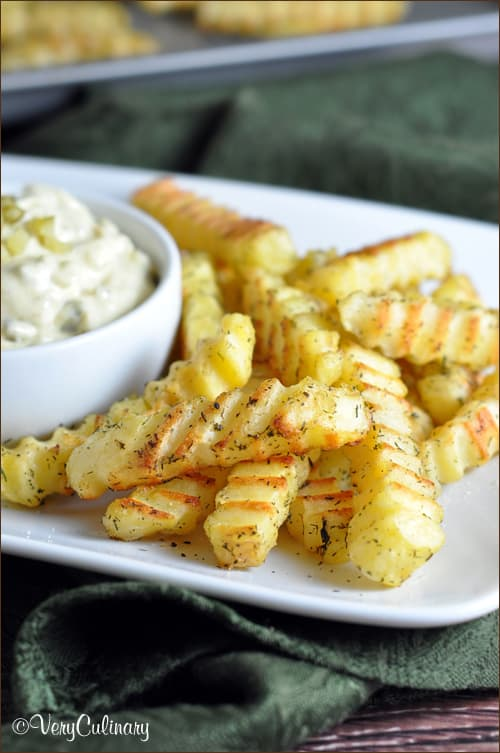 Dill French Fries with Pickled Mayo Dip