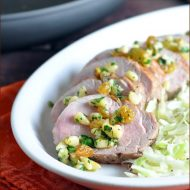 Cumin Seared Pork Tenderloin with a Raisin Pine Nut Relish - easy enough for every day, but fancy enough for a holiday dinner! Also dairy free and gluten free!.