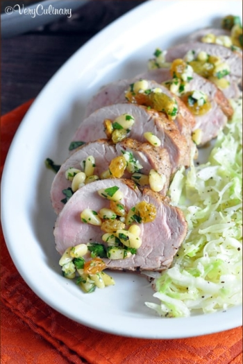 Cumin Seared Pork Tenderloin with a Raisin Pine Nut Relish - easy enough for every day, but fancy enough for a holiday dinner! And also happen to be dairy and gluten free to accommodate most diets.