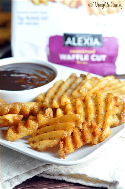Seasoned Waffle Cut Fries with Barbecue-Maple Dipping Sauce