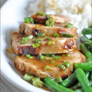 Seared Teriyaki Pork Tenderloin with Wasabi-Gingered Soy Sauce