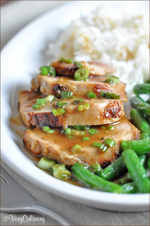 Pork tenderloin is seared in a teriyaki marinade, then topped with a wasabi-gingered soy sauce. Super easy and delicious!