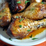 Crock pot chicken drumsticks, soaked in a honey-soy sauce spiked with orange, ginger, and garlic.