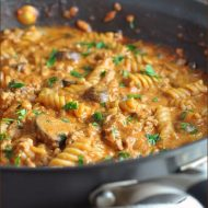 A comforting skillet dish, this Turkey Stroganoff comes together in 30 minutes and there's only one pan to clean up!