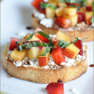 French bread is topped with goat cheese and fresh fruit, then drizzled with rich balsamic - sweet, tangy, light, refreshing, and super easy!