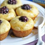 Portable mini pancake muffins made with vanilla almond milk, honey, and blackberries. Perfectly delicious breakfast for on the go! #ad
