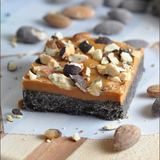No-Bake Butterscotch Bars with Sea Salt and Dark Chocolate Almonds