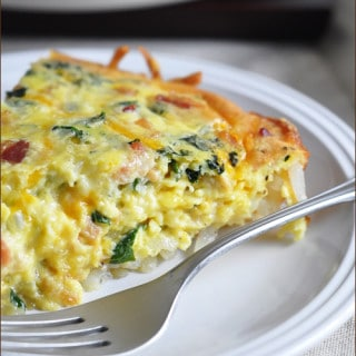 Regular quiche gets a major facelift with a crispy hash brown crust, bacon, and kale. Perfect for breakfast, brunch, or even dinner!