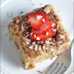 Sweet, moist coffee cake made with almond milk, strawberries, and a delicious cinnamon almond topping. #ad