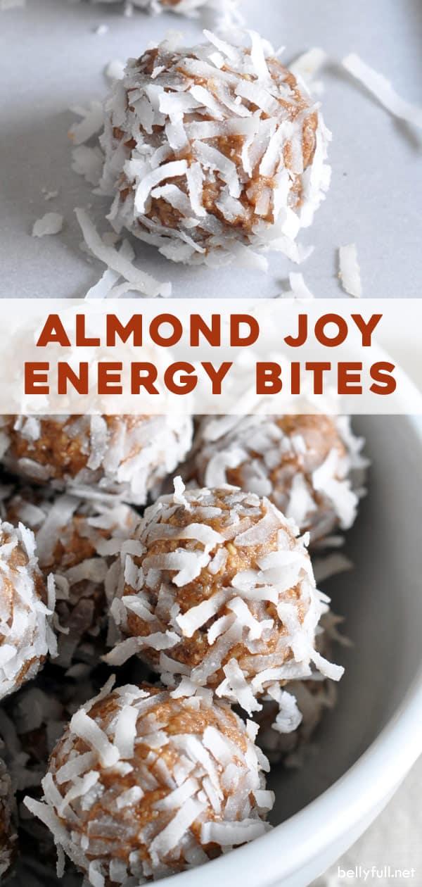 long pin for No Bake Almond Joy Energy Bites