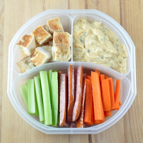 Back To School Lunchbox: Vegetable, Bread, and Kielbasa Fondue