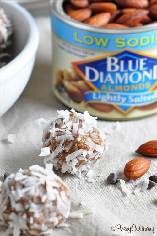 Small and portable, these easy 6 ingredient almond butter snack bites are sweetened with coconut and chocolate chips. Full of fiber, protein, and healthy fats. And no cooking required! #ad #FlavorYourAdventure