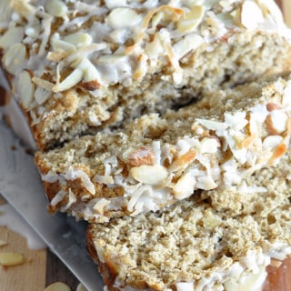 With a mixture of white and wheat flours and almond milk, this is a healthier banana bread, but doesn't lack in flavor. The glaze is optional, but I wouldn't skip it!