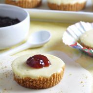 Creamy cheesecake in mini form, with a buttery graham cracker crust, and a dollop of your favorite jam. The perfect sweet bite at only 130 calories each!