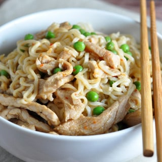 Easily dress up Ramen noodles with a sweet and sour sauce and tender pork loin strips!
